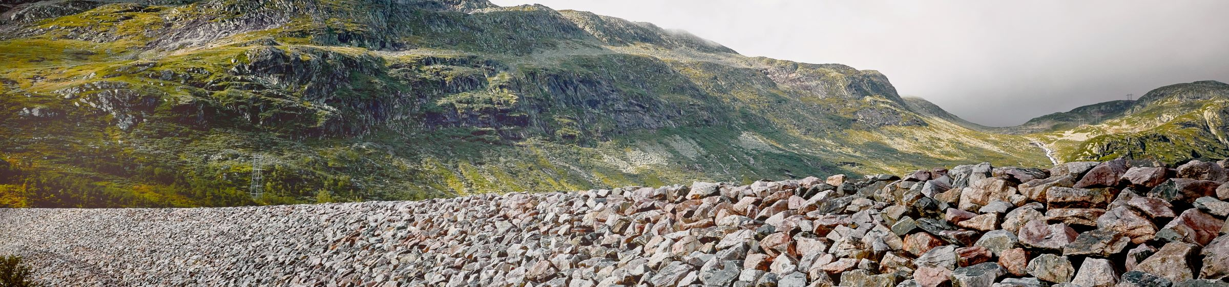 Mountain and dam